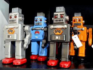 robots on a shelf