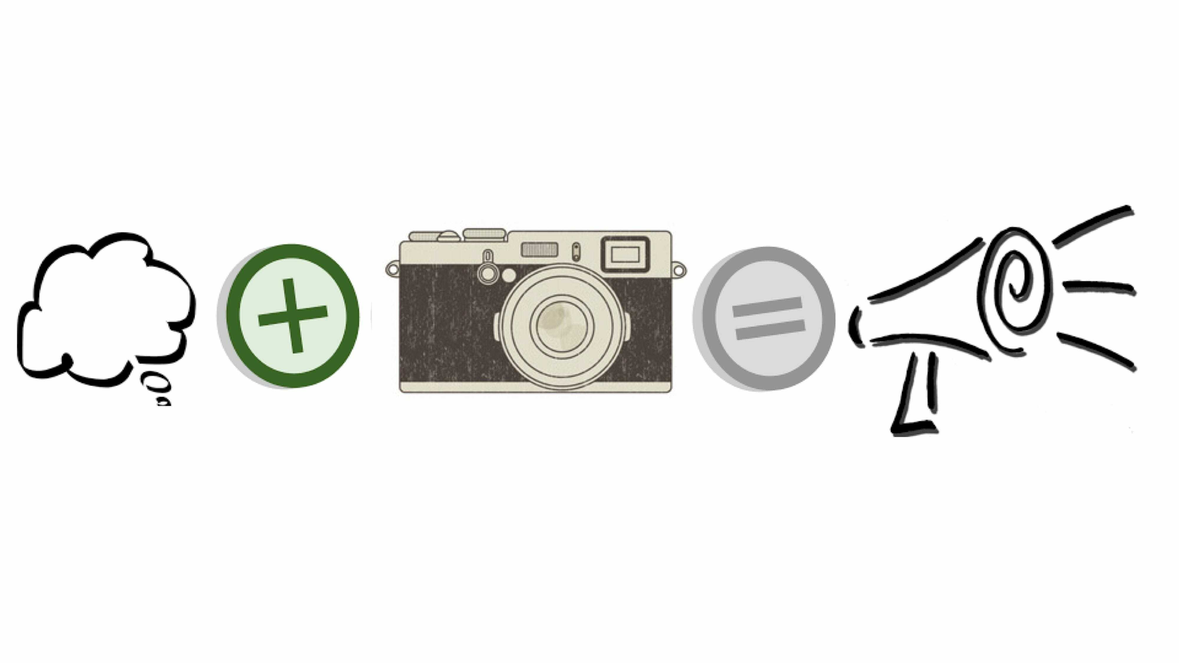 image: set up like a math equation. Left to right: thought bubble, addition sign, old camera, equal sign, drawn image of megaphone